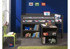 Halfhoogslaper met bureau en boekenkast