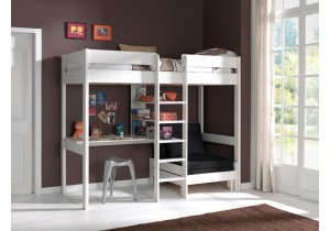 Pino hoogslaper met bureau en bedbank- wit