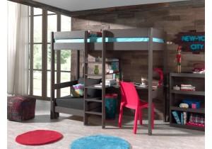 Pino hoogslaper met bureau en bedbank- taupe