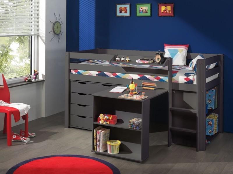 Pino-Halfhoogslaper-met-bureau,-laden-en-boekenkast-taupe