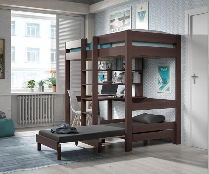 Pino hoogslaper met bureau en bedbank taupe ps slapen - Tiener meisje mezzanine slaapkamer ...